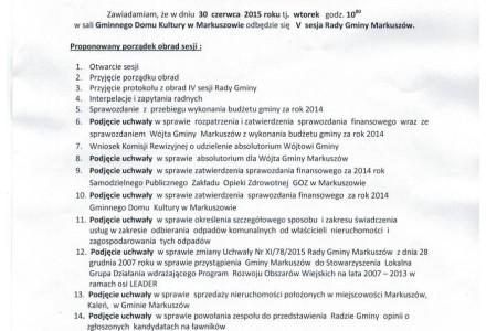 30 czerwca 2015 g. 10.00 – V sesja Rady Gminy Markuszów