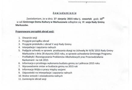 27 sierpnia 2015 roku g. 10.00 – VI sesja Rady Gminy Markuszów