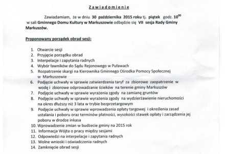 30 października 2015 roku godz. 10.00 – VII sesja Rady Gminy Markuszów