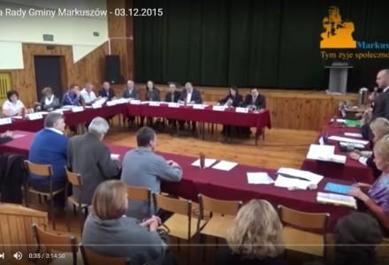 Nagranie z VIII sesji Rady Gminy Markuszów z dnia 03.12.2015 roku