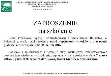 Szkolenie w GDK w Markuszowie organizowane przez Biuro Powiatowe ARiMR w Puławach – 7 marzec 2016 godz. 10.00