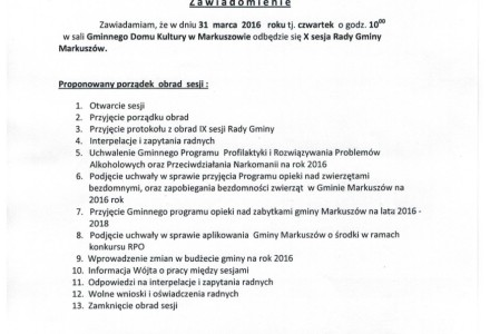 31 marca 2016 godz.10.00 – X sesja Rady Gminy Markuszów