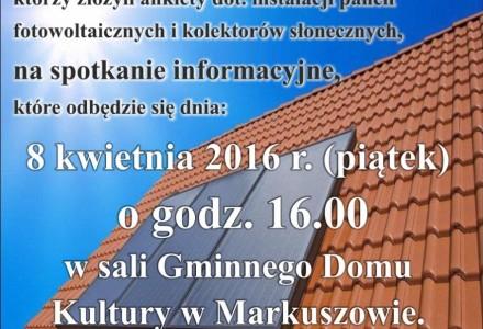 Spotkanie informacyjne w sprawie OZE – 8 kwietnia 2016 godz. 16.00