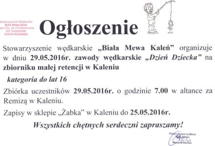 """Zawody wędkarskie """"Dzień Dziecka"""" na zbiorniku w Kaleniu"""
