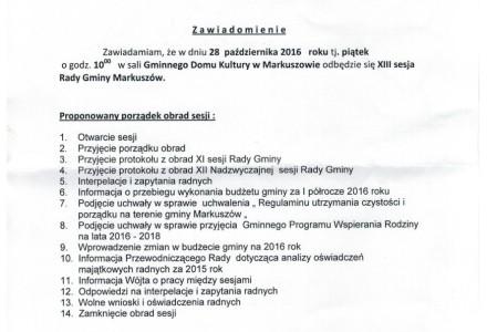 28 października 2016 roku – XIII Sesja Rady Gminy Markuszów
