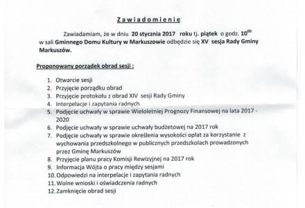 20 styczeń 2017 – XV sesja Rady Gminy Markuszów