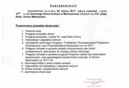 2 marzec 2017 – XVI sesja Rady Gminy Markuszów
