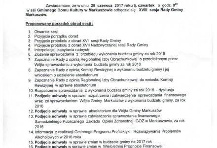 29 czerwca 2017 -XVIII sesja Rady Gminy Markuszów