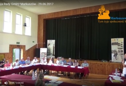 Nagranie z XVIII sesji Rady Gminy Markuszów – 29.06.2017