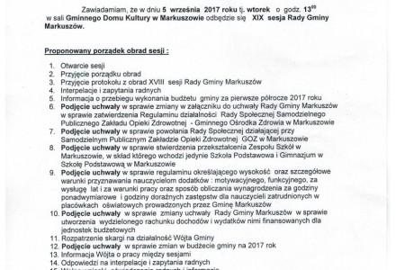 5 września 2017- XIX sesja Rady Gminy Markuszów