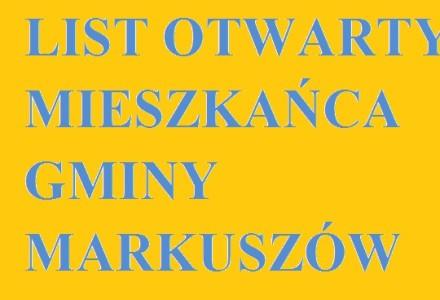 List otwarty mieszkańca gminy Markuszów