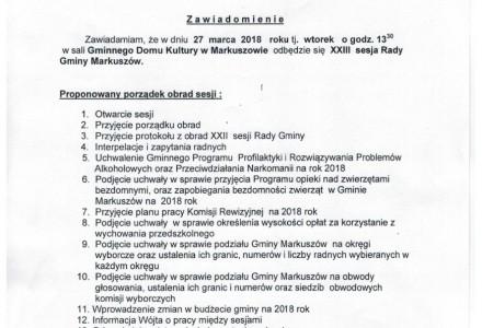 27 marca 2018 – XXIII sesja Rady Gminy Markuszów