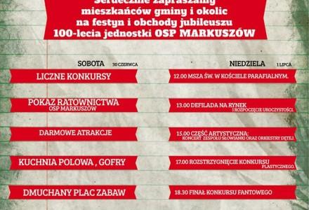 Zapraszamy na 100-lecie OSP Markuszów