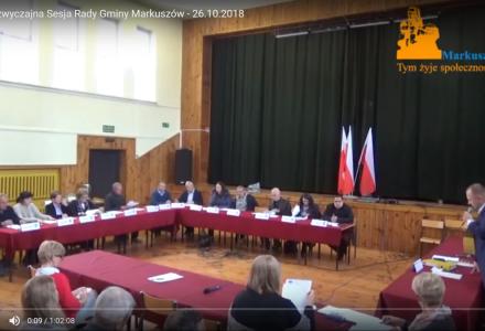 Nagranie z XXV Nadzwyczajnej Sesji Rady Gminy Markuszów -26.10.2018