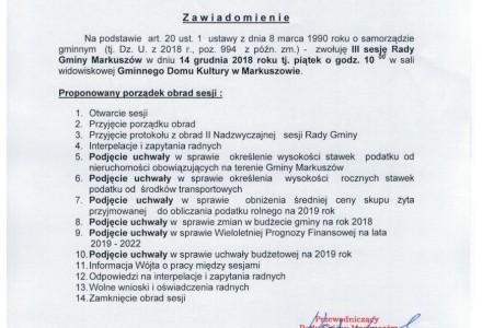 14 grudnia 2018 – III sesja Rady Gminy Markuszów