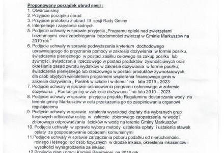 6 luty 2019 – IV Sesja Rady Gminy Markuszów